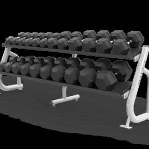 Matrix 2 tier flat-tray dumbbell rack